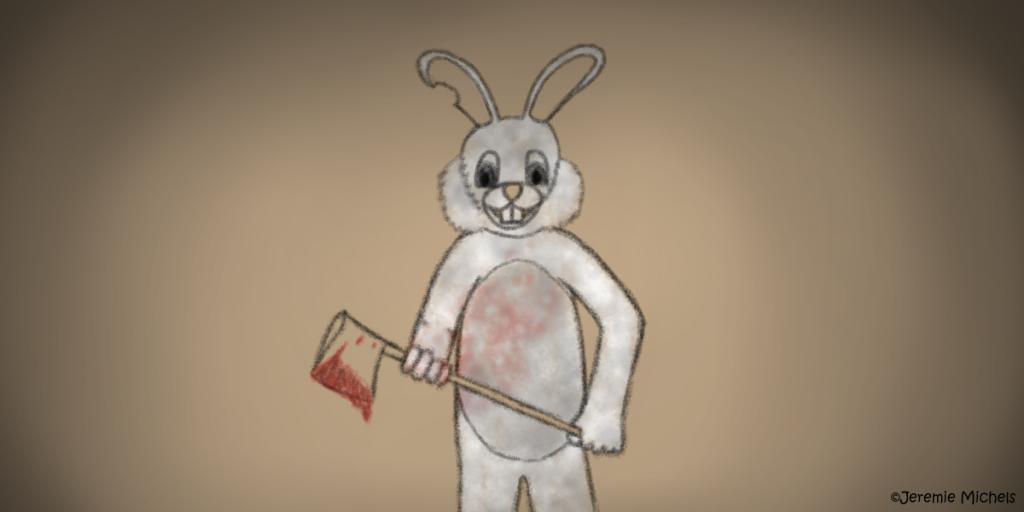 Bunny Man Zeichnung von Jeremie Michels. In der Mitte des Bildes steht ein Mensch in einem weißen Hasenkostüm. Er hält eine Axt mit blutiger Klinge in beiden Händen. Sein Kostüm ist dreckig und mit Blutspritzern übersäht.