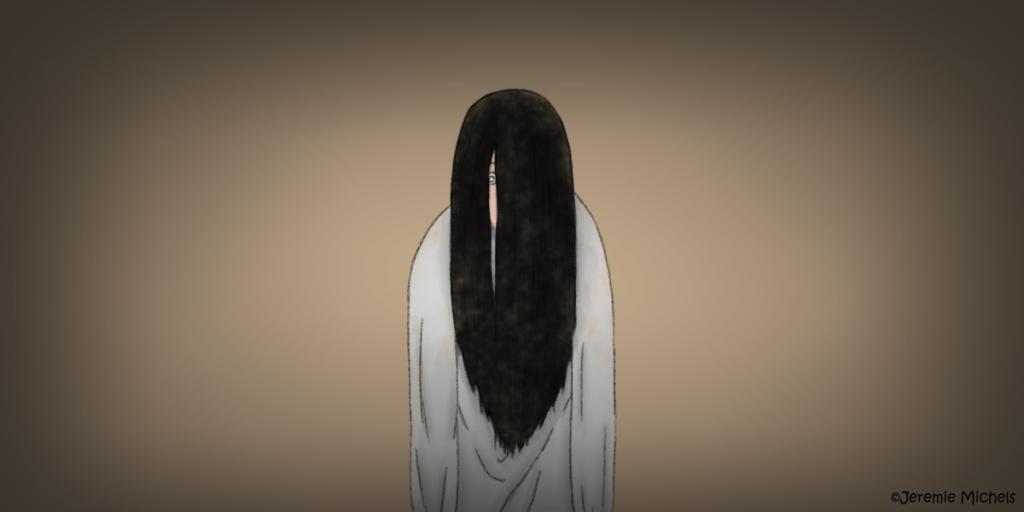 Kuntilanak Zeichnung von Jeremie Michels. Man sieht ein Mädchen oder ine Frau mit langen schwarzen Haare, die ihr Gesicht fast völlig verdecken. Lediglich ein wahnsinnig starrendes Auge und bleiche Haut lassen sich in einer Lücke erkennen. Die Frau trägt lange, hellgraue und schlichte Kleidung und lässt die Schultern und Arme stark herunterhängen.