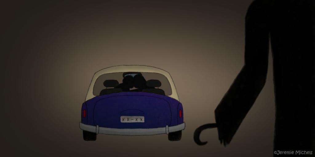 Lovers Lane Legenden Zeichnung von Jeremie Michels. Man sieht den Schatten eines Mannes mit mit einem Haken statt einer Hand im Vordergrund. Im Hintergrund steht ein geparktes Auto, in dem die Silhouetten zweier Personen miteinander knutschen.