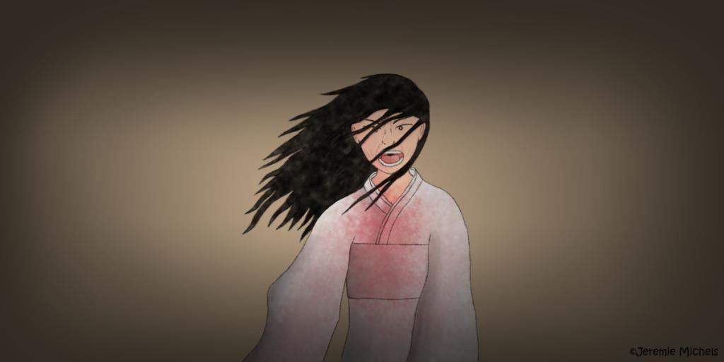 Onryō Zeichnung von Jeremie Michels. Eine asiatisch aussehende Frau in einem blutverschmierten, weißen Kimono steht in der Mitte des Bildes. Ein Windzug kommt von rechts und weht ihre Haare und ihren Kimono zur Seite. Sie sieht den Beobachter direkt an und hat den Mund zu einem wütenden Schrei geöffnet.