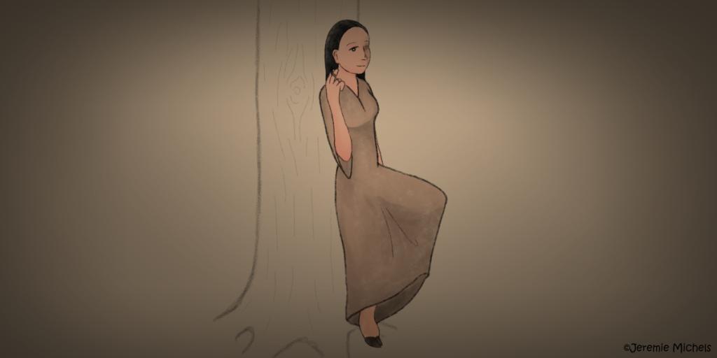 Deer Woman Zeichnung von Jeremie Michels. Man sieht eine amerikanische Ureinwohnerin in einem schlichten, braunen Kleid an einem Baum lehnen. Sie lächelt den Betrachter schüchtern an, während sie mit ihrer rechten Hand mit einer Haarsträhne spielt. Ein Bein ist angewinkelt, sodass der Fuß am Baum lehnt, das andere steht am Boden. Man sieht am unteren Ende des Kleides ein Rehhuf statt eines Fußes unter dem Kleid hervorlugen.