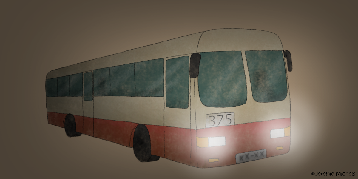 Der Geisterbus von Peking Zeichnung von Jeremie Michels. Man sieht einen altmodischen Bus mit Scheinwerferlicht. Der Hintergrund ist dunkel. Der Bus ist halb beige, halb rot mit dunklen Fenstern, hinter denen man einige Personen erahnen kann. Vorne am Bus steht die Nummer 375.