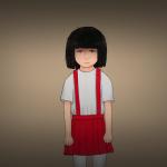 Hanako-san Zeichnung von Jeremie Michels. Man sieht ein junges japanisches Mädchen mit einem roten Rock mit Trägern, einem weißen Oberteil und einer weißen Strumpfhose. Ihre schwarzen Haare sind zu einem Pagenschnitt geschnitten, der einen Schatten in ihr Gesicht wirft. Ihre Mimik deutet ein kaltes, gefühlsloses Lächeln an.