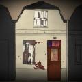 Das blutende Haus Zeichnung von Jeremie Michels. Man sieht ein sehr kleines beiges Reihenhaus, das dicht zwischen zwei anderen, von der Form her identischen Häusern steht. Es sieht heruntergekommen aus. Die Fenster sind mit weißen Brettern verbarrikadiert, von denen sich die Farbe löst. Die Fassade ist alt. Stellenweise kommen unter der beigen Fassade rote Ziegelsteine zum Vorschein.