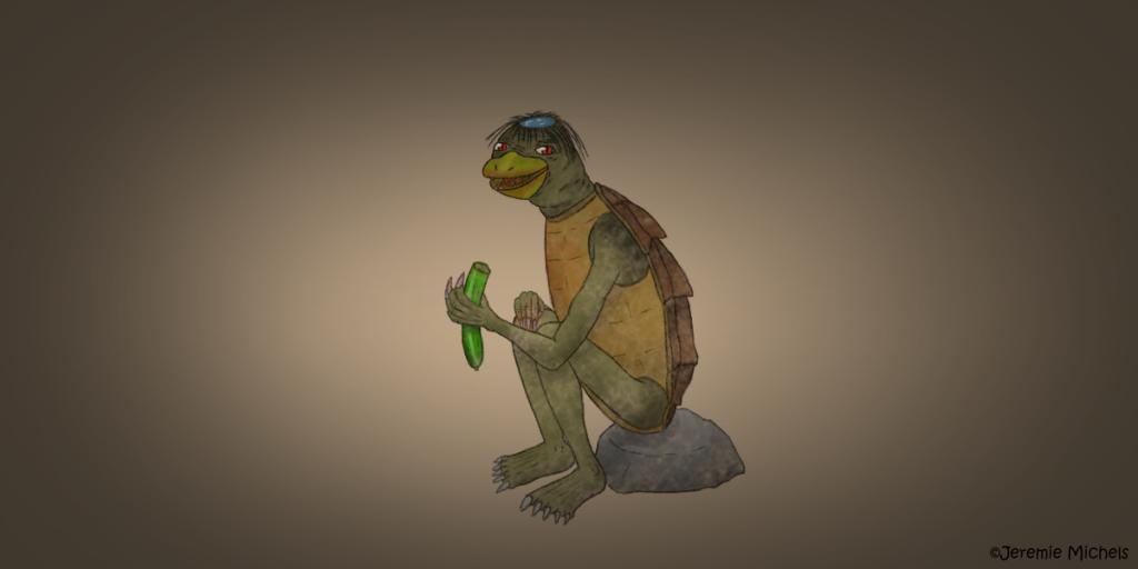 Kappa Zeichnung von Jeremie Michels. Man sieht ein seltsames Wesen auf einem Stein sitzen - einen Kappa. Er hat grüne Haut, lange Krallen an Händen und Füßen, einen mit spitzen Zähnen besetzten Schnabel, einen Schildkrötenpanzer und eine seltsame, mit zwarzen strähnigen Haaren umringte Kuhle in seinem Schädel, die mit Wasser gefüllt ist. Mit seinen roten Augen sieht er den Betrachter direkt an. An seinem Schnabel, der Vorderseite seines Panzers und den Krallen an seinen Händen lässt sich Blut erahnen. Außerdem hält er eine Gurke in der Hand, von der er bereits ein Stück abgebissen hat.