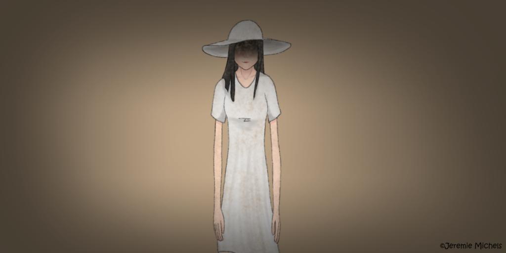 Hachishakusama Zeichnung von Jeremie Michels. Man sieht eine sehr hellhäutige dünne Frau mit unnatürlich langen Gliedmaßen, die ein weißes Kleid und einen breitkrempigen weißen Hut trägt. Ihr Gesicht wird von einem Schatten verdeckt, während sie den Betrachter genau anzusehen scheint. Ihr Mund ist zu einem leichten Lächeln verzogen.