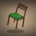 Poltergeister Zeichnung von Jeremie Michels. Man sieht einen braunen Holzstuhl mit grünem Polster, der auf übernatürliche Weise in der Luft schwebt.