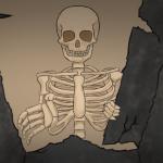 Gashadokuro Zeichnung von Jeremie Michels. Der Zuschauer sieht von unten auf ein riesiges menschliches Skelett, dass das Dach von einem Haus heruntergerissen hat und nach dem Zuschauer greift.