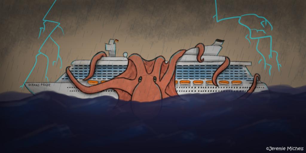 Der Kraken Zeichnung von Jeremie Michels. Man sieht ein Kreuzfahrtschiff während eines Gewittersturms von der Seite. Im Hintergrund zucken Blitze. Um das Kreuzfahrtschiff selbst ist ein gewaltiger Kraken gewickelt, der fast die Hälfte des gesamten Schiffes einnimmt.