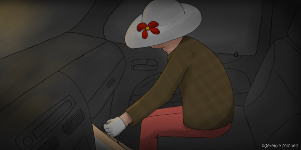 Hairy-armed hitchhiker Zeichnung von Jeremie Michels. Es ist dunkel. Aus der oberen linken Ecke kommt ein schwaches, gelbes Licht. Man sieht den Beifahrersitz eines Autos aus Sicht des Fahrers. Darauf sitz eine scheinbar alte Frau mit brauner Jacke, einer Lachsfarbenen Hose, weißen Handschuhen und einem großen weißen Hut, die eine Einkaufstüte in den Fußraum stellt. Bei näherer Betrachtung erkennt man an dem freien Handgelenk schwarze Haare, sowie Bartstoppeln an dem kaum sichtbaren Kinn.