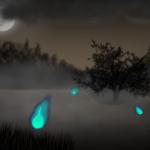 Irrlichter Zeichnung von Jeremie Michels. Der Beobachter sieht einen nebligen Sumpf bei Nacht. Im Nebel sind deutlich drei kleine, blaue Flammen zu sehen, die in der Luft schweben. In der oberen rechten Ecke sieht man einen wolkenverhangenen Vollmond.