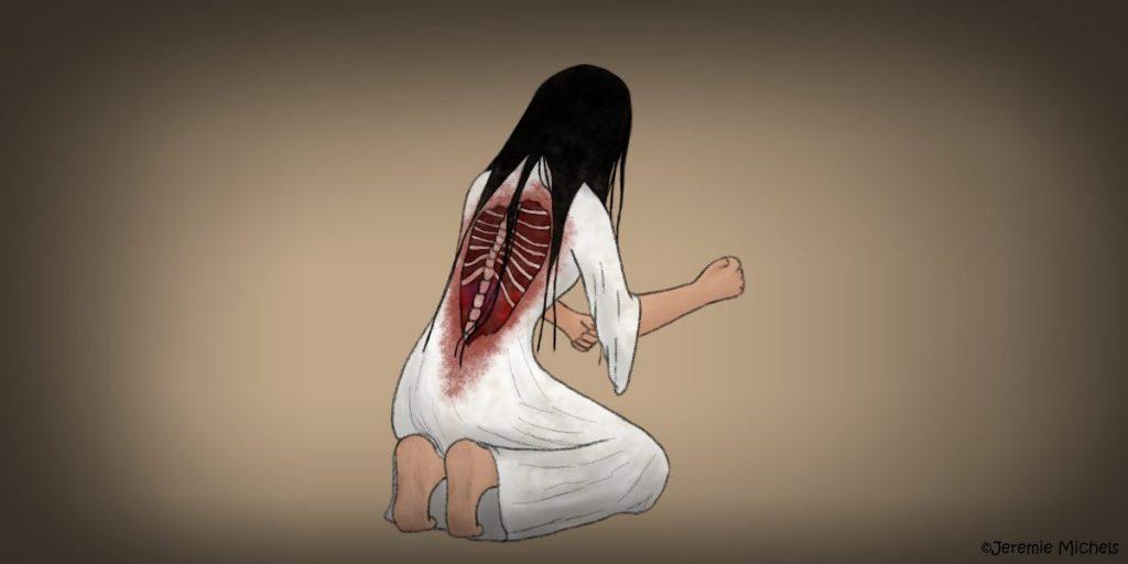 Sundel Bolong Zeichnung von Jeremie Michels. Man sieht eine asiatische Frau mit langen schwarzen Haaren, einer klaffenden Wunde im Rücken und einem weißen Kleid am Boden kniet. Sie hat dem Betrachter leicht den Rücken zugedreht. Dabei sieht man ihre Wirbelsäule und mehrere Rippen in der blutigen Wunde. Das Kleid ist um die Wunde herum blutverschmiert.