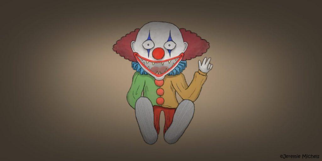 Die Clownpuppe Zeichnung von Jeremie Michels. Man sieht eine gruselige Puppe, die einen Clown darstellt. Die Kleidung ist verblichen, sie besitzt spitze zähne und sie hat eine Hand erhoben, mit der sie dem Betrachter drei Finger zeigt.