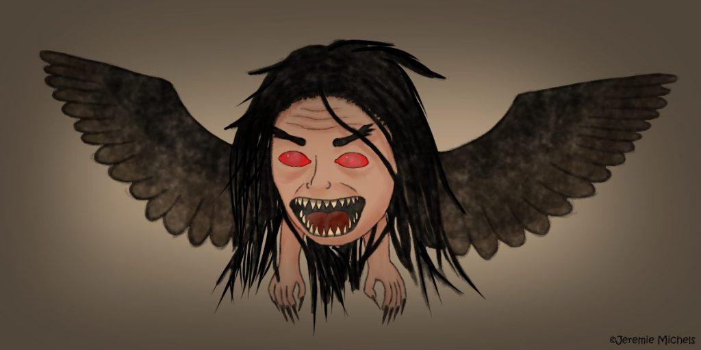 The Flying Head Zeichnung von Jeremie Michels. Man sieht einen gewaltigen menschenähnlichen Kopf mit tiefroten Augen, buschigen Augenbrauen und einem wütend aufgerissenen, mit spitzen Zähnen besetzten Mund. Lange, schwarze Haare hängen wirr um ihn herum, während aus seiner Seite braune Flügel ragen. An der Unterseite, wo der Hals hätte sein müssen, befinden sich zwei menschenähnliche Hände, mit langen, spitzen Fingernägeln.