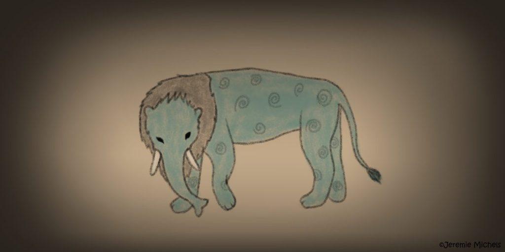 Baku Zeichnung von Jeremie Michels. Man sieht auf dem Bild ein seltsames Wesen mit blauer Haut und einer grauen Mähne. Es steht auf vier Beinen, hat katzenähnliche Pfoten, Rüssel und Stoßzähne eines Elefanten, kleine schwarze Augen, eine Löwenähnliche Mähne und einen kuhähnlichen Schwanz.