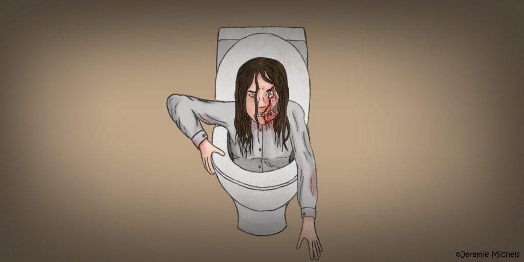 Carmen Winstead Zeichnung von Jeremie Michels. Man sieht eine junge Frau mit braunen, welligen Haaren aus einer Toilette kommen. Eine Hand stützt sich an der Klobrille, während die andere nach dem Boden tastet. Das Gesicht der Frau ist völlig entstellt. Die rechte Gesichtshälfte fehlt und entblößt den blutverschmierten Schädel, während die Frau sehr wütend aussieht.