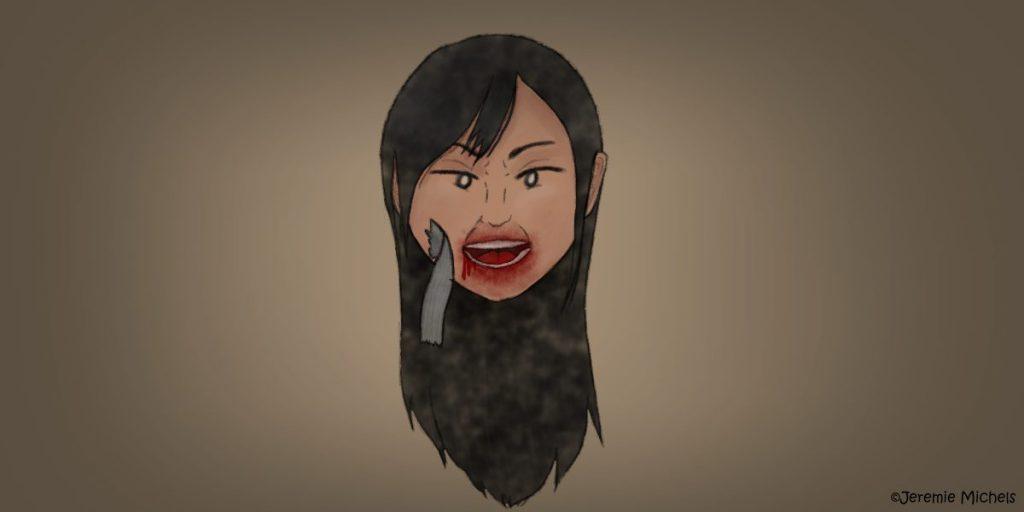 Nukekubi Zeichnung von Jeremie Michels. Man sieht den schwebenden Kopf einer Japanerin, die den Beobachter genau ansieht. Ihr offener Mund ist blutverschmiert. Außerdem hängt ein Fetzen Klebeband an ihrer Wange, der vorher ihren Mund bedeckt zu haben schien.