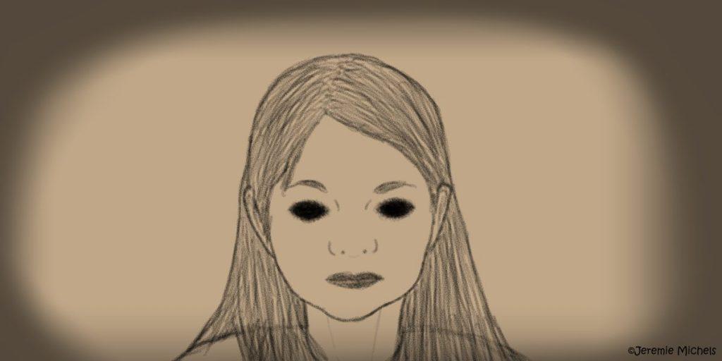 Black Eyed Children Zeichnung von Jeremie Michels. Man sieht den Kopf eines jungen Mädchens, das einen direkt anguckt. Seine Augen sind pechschwarz und haben keinen Glanz.