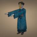 Jiang Shi Zeichnung von Jeremie Michels. Das Bild zeigt einen Jiang Shi - einen chinesischen Zombie. Er trägt eine blaue Uniform eines Mandarin der Qing-Dynastie. Außerdem steht er recht steif da, während er die Arme starr geradeaus gestreckt hat. Seine Haut ist leicht bläulich, seine Haare und Augen weiß. An seiner Stirn klebt ein gelber Zettel, der ihm ins Gesicht hängt und auf dem chinesische Schriftzeichen stehen.