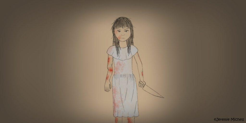Shiryō Zeichnung von Jeremie Michels. Man sieht ein kleines asiatisches Mädchen mit einem blutigen grauen Kleid, einem gebrochenem rechten Arm und einem großen Messer in der linken Hand. Sie sieht den Betrachter wütend an.