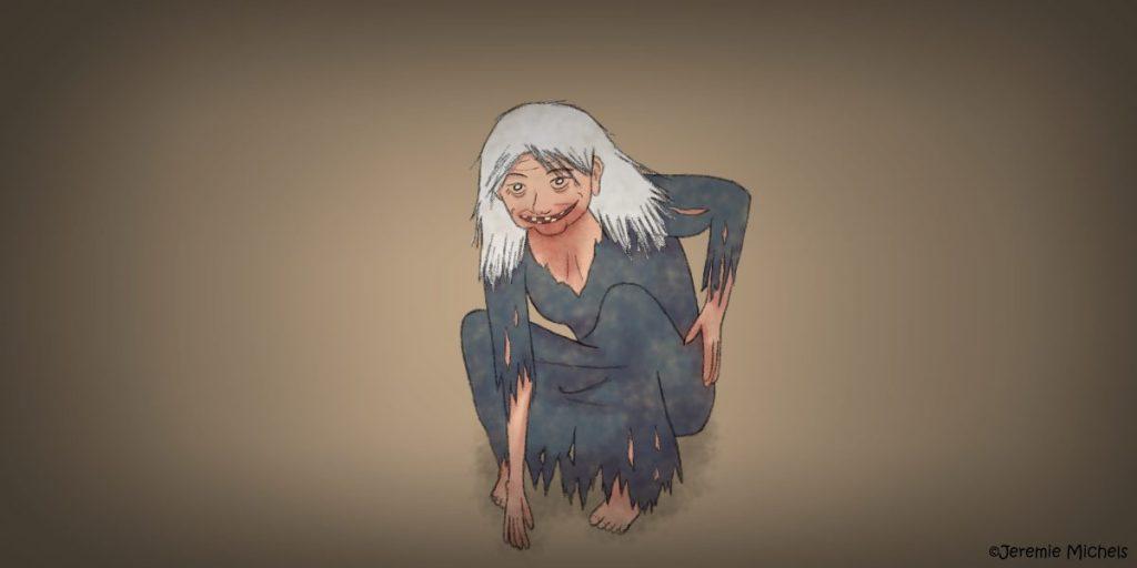 Yamauba Zeichnung von Jeremie Michels. Man sieht eine alte Frau, die am Boden kauert. Sie hat wirre, weißte Haare und einen wahnsinnigen Blick, mit dem sie den Betrachter direkt anstarrt. Ihr äußerst breiter Mund, in dem nur noch wenige Zähne sind, ist zu einem Lächeln verzerrt. Ihre Kleidung ist ausgegraut und lumpig. Außerdem scheint Blut an ihrem Mund, Hals und ihren Händen zu sein.