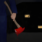 Halloween Campus Murders Zeichnung von Jeremie Michels. Man sieht im Vordergrund einen Mann stehen, der einen blauen Overall trägt und eine blutige Feuerwehraxt in der rechten Hand trägt. Er sieht in die Ferne, wo man in der Dunkelheit ein vierstöckiges Gebäude stehen sieht. Hinter einigen erleuchteten Scheiben sieht man Leute feiern, rauchen und lesen.