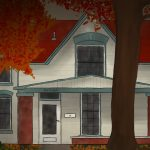 The Sallie House Zeichnung von Jeremie Michels. Man sieht das Sallie House im Herbst. Das kleine, zweistöckige Gebäude steht im Dunklen. In den Fenstern brennt kein Licht. Die Bäume, die links und rechts vor dem Haus stehen, blockieren teilweise die Sicht und haben rote und orangene Blätter. Buntes Laub liegt auf dem Boden vor dem Haus.
