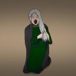 Banshee Zeichnung von Jeremie Michels. Man sieht eine alte Frau mit langen weißen Haaren auf dem Boden knien, während sie ihre Haare kämmt. Ihr Gesicht ist zu einem kummervollen Schrei mit unnatürlich weit aufgerissenem Mund verzerrt. Ihre pupillenlosen Augen sind gerötet, während Tränen ihre Wangen hinunterlaufen. Sie trägt ein dunkelgrünes Kleid und einen dunkelgrauen Umhang.