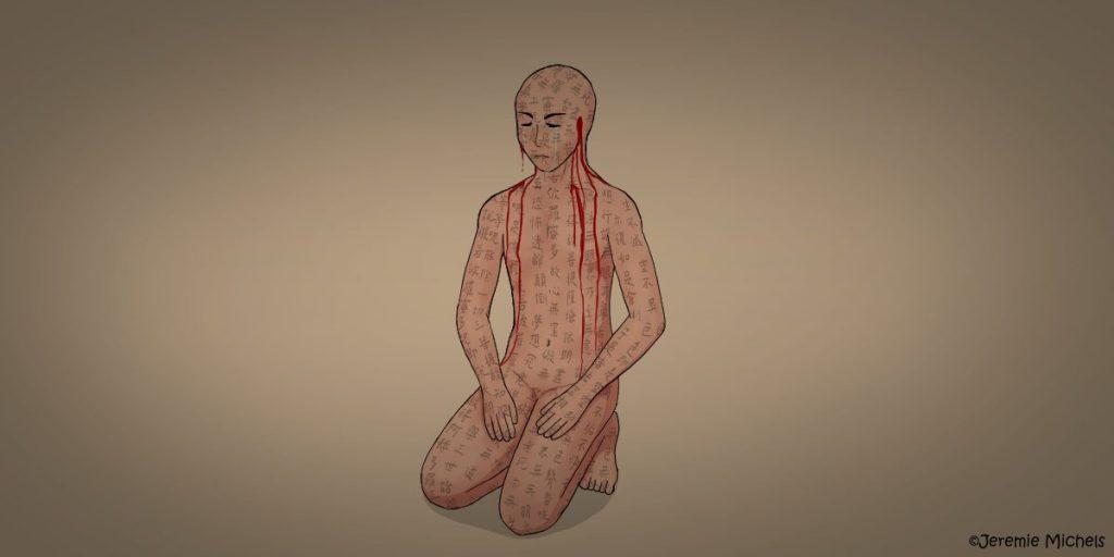 Mimi-nashi Hōichi Zeichnung von Jeremie Michels. Auf dem Bild kniet ein nackter Mann, auf dessen Körper überall chinesische Schriftzeichen geschrieben stehen. Seine Körperhaltung ist ruhig, sein Gesichtsausdruck jedoch leicht schmerzverzerrt. Er besitzt keine Ohren mehr, stattdessen läuft Blut aus den Stellen, wo die Ohren hätten sein müssen. Der Mann ist am Weinen.