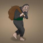 Grýla Zeichnung von Jeremie Michels. Das Bild zeigt eine sehr hässliche alte Frau, die einen Sack über die Schulter geworfen hat. In den Sack scheint sich etwas zu Bewegen. Die Frau selbst trägt ein lumpiges grauses Kleid, hat filzige graue Haare und die Zehennägel an ihren nackten Füßen sind lang und gelblich. Außerdem hat sie viele Altersflecke, eine krumme Nase mit Warze und grinst den Betrachter mit gelblichen Zähnen und mehreren Zahnlücken an. Aus ihrem Kinn sprießen einige Härchen.