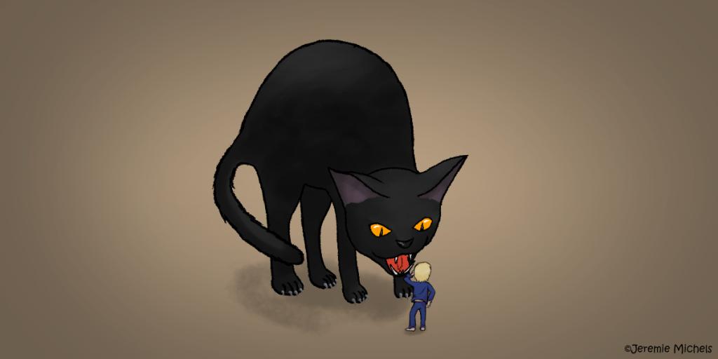 Die Yule-Katze Zeichnung von Jeremie Michels. Man sieht eine riesige schwarze Katze, die ihren Rücken zu einem Buckel geformt hat und einen blonden Jungen in dunkelblauem Schlafanzug anfaucht. Der Junge reicht der Katze nicht einmal zu den Knien.