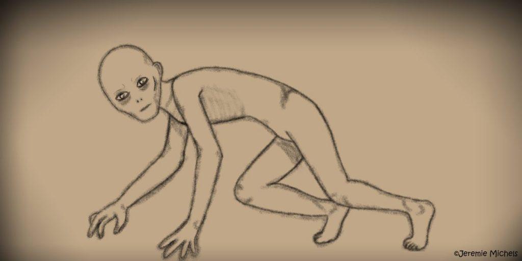 Der Rake Zeichnung von Jeremie Michels. Man sieht eine Kreatur, die wie ein haarloser, ausgehungerter und nackter Mann aussieht. Sie krabbelt auf allen vieren, scheint jedoch in der Bewegung innezuhalten, um den Betrachter anzustarren.