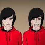 Doppelgänger Zeichnung von Jeremie Michels. Man sieht zwei identisch aussehende junge Männer nebeneinander stehen. Sie haben helle Haut, tragen eine schwarze Emo-Frisur und eine knallrote Kapuzenjacke. Der Linke von ihnen sieht mit einem neutralen Gesichtsausdruck zum Rechten hinüber, während der Rechte mit einer Mischung aus Angst und Unbehagen zurückstarrt.