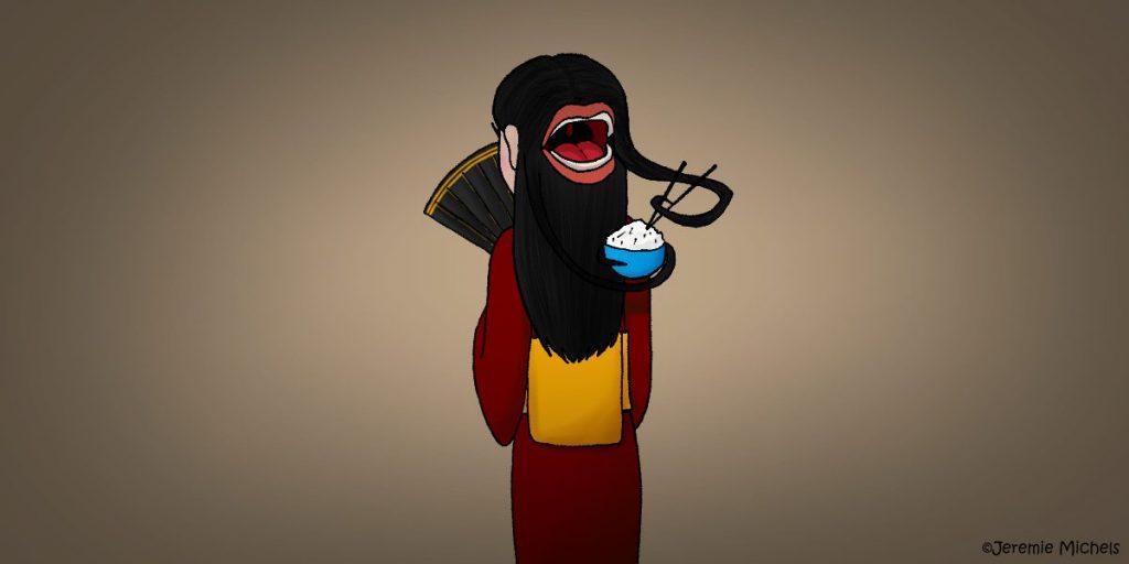 Futakuchi-onna Zeichnung von Jeremie Michels. In der Mitte des Bildes steht eine asiatisch aussehende Frau. Sie hat dem Zuschauer den Rücken zugewandt und trägt einen dunkelroten Kimono. Sie hält sich einen schwarz-goldenen Fächer vors Gesicht. An ihrem Hinterkopf - zwischen langen, schwarzen Haaren - ist ein riesiger Mund zu sehen. Einige umliegende Haarsträhnen halten tentakelartig eine Schüssel mit Reis und Stäbchen fest. Der Mund ist weit geöffnet, als wolle er den Reis essen.