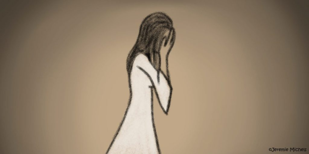 La Llorona Zeichnung von Jeremie Michels. Auf dem Bild sieht man das Seitenprofil einer Frau. Sie hat schwarze Haare und trägt ein langes, weißes Kleid, während ihr Gesicht in ihren Händen verborgen ist.