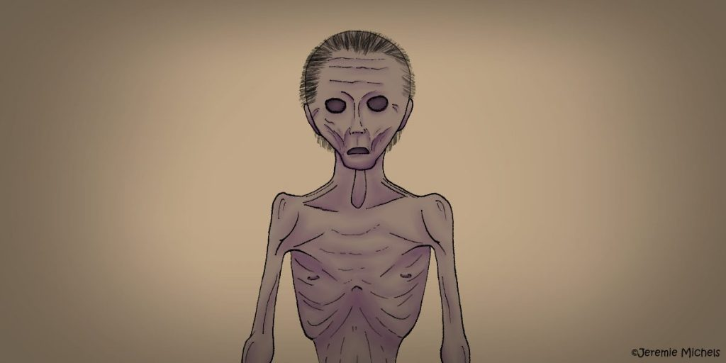 O Corpo Seco Zeichnung von Jeremie Michels. Das Bild zeigt einen völlig abgemagerten, nackten Mann von der Hüfte aufwärts. Er hat eine ungesunde Hautfarbe und viele Falten am Körper. Seine Augen sind bloß leere Augenhöhlen und sein Mund steht leicht offen.