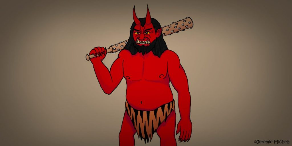 Oni Zeichnung von Jeremie Michels. Auf dem Bild ist ein Oni zu sehen. Er hat rote Haut, trägt einen Lendenschurz aus Tigerfell und hat wirres, schulterlanges, schwarzes Haar. Aus seiner Stirn ragen zwei Hörner, während sein Mund von zwei großen Hauern geprägt ist. Der Oni schaut grimmig in die Ferne, während er einen eisenbeschlagenen Streitkolben aus Holz auf der Schulter trägt.