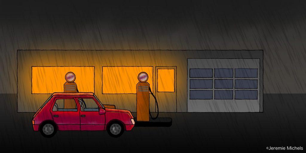 Killer in the Backseat Zeichnung von Jeremie Michels. Das Bild zeigt eine Tankstelle bei Nacht. Es regnet in Strömen, während ein kleines rotes Auto an einer der beiden alten Zapfsäulen steht. Im Hintergrund ist das Tankstellengebäude, aus dessen Fenstern orangegelbes Licht scheint.
