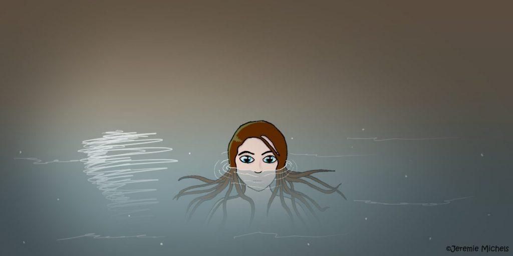 Die Nixen Zeichnung von Jeremie Michels. Das Bild zeigt eine Nixe im See. Sie hat braune Haare, die im Mondlicht grün schimmern. Ihre Haare sind braun. Sie ist bis zur Nase unter Wasser und beobachtet den Betrachter. Auf der Wasseroberfläche spiegelt sich der Mond.