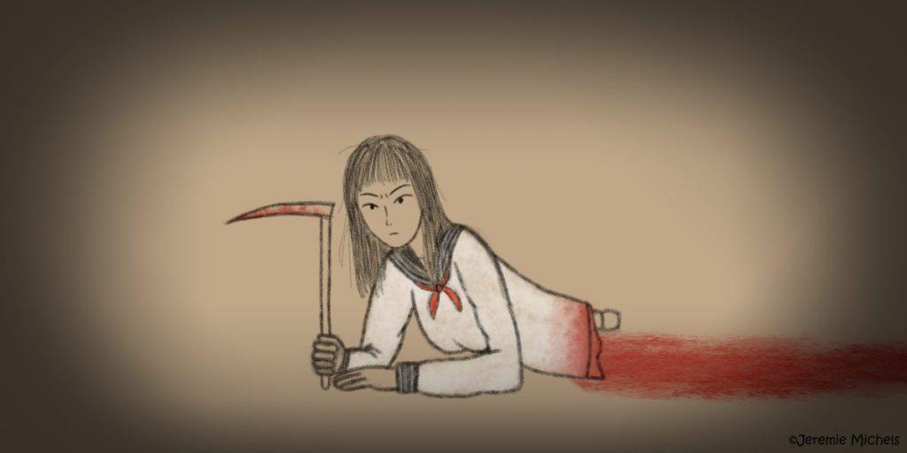 Teketeke Zeichnung von Jeremie Michels. Das Bild zeigt den Oberkörper von Kashima Reiko, eine Japanerin, die daran gestorben ist, dass ein Zug ihren Körper an der Hüfte zerteilt hat. Aus der Wunde ragt ein Stück Wirbelsäule. Von den Beinen fehlt jede Spur. Kashima Reiko liegt auf dem Bauch, während sie sich mit den Armen abstützt. Sie schaut grimmig in die Kamera. In ihrer rechten Hand hält sie eine Sichel. Als Kleidung trägt sie eine japanische Schuluniform.
