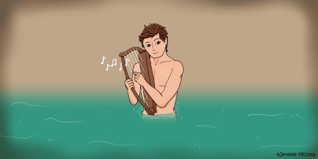 Der Nöck Zeichnung von Jeremie Michels. Das Bild zeigt einen attraktiven und muskulösen jungen Mann, der nackt bis zur Hüfte im Wasser steht und den Betrachter mit seinen braunen Augen direkt ansieht. Er spielt auf einer kleinen Harfe, die er in den Armen hält. Seine kurzen braunen Haare sind etwas wirr.