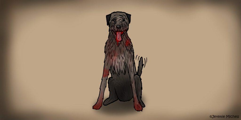 Gelert der Hund Zeichnung von Jeremie Michels. Auf dem Bild sitzt ein irischer Wolfshund, der den Zuschauer direkt ansieht, die Zunge heraushängen lässt und mit dem Schwanz wedelt. Von seiner Zunge tropft Blut, das auch seine Schnauze umgibt, Außerdem hat er blutige Pfoten und einige andere blutige Flecken im Fell. Wenn man genau hinsieht, erkennt man einen blutigen Kratzer an der Schulter und einen Bissabdruck am Vorderbein.