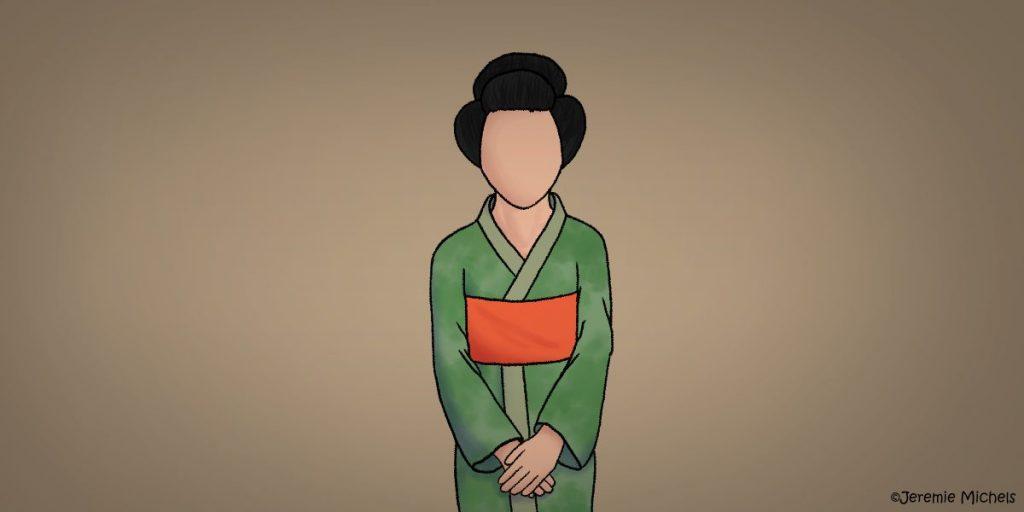 Noppera-Bō Zeichnung von Jeremie Michels. Auf dem Bild steht eine Asiatin mit traditioneller Kleidung und Frisur. Sie sieht den Zuschauer direkt an, nur, dass sie kein Gesicht besitzt. Statt Mund, Nase, Augen, Ohren, Augenbrauen oder Wangenknochen hat sie bloß Haut im Gesicht.