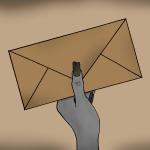 Newsletter Zeichnung von Jeremie Michels. Auf dem Bild ist eine magere Hand mit gräulicher Haut und schwarzen, kaputten, langen Fingernägeln. Die Hand hält einen vergilbten Briefumschlag.