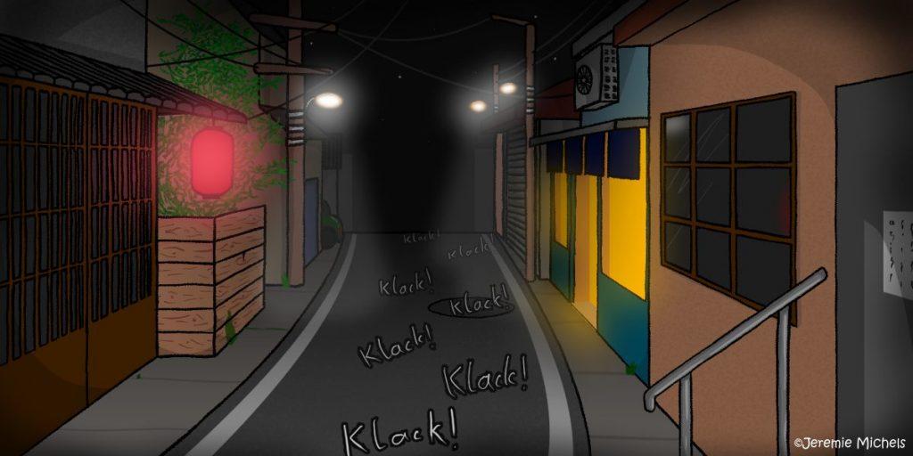 """Betobeto-san Zeichnung von Jeremie Michels. Das Bild zeigt eine enge Straße einer japanischen Kleinstadt bei Nacht. Die meisten Gebäude sind dunkel, lediglich in einem Laden brennt noch licht. In der Ferne sind drei Straßenlaternen zu sehn, während der Vordergrund von einem roten Lampignon erhällt wird. Auf der düsteren Straße sind sind sieben """"Klack!"""" Geräusche eingezeichnet, die im Zickzack auf den Betrachter zukommen."""