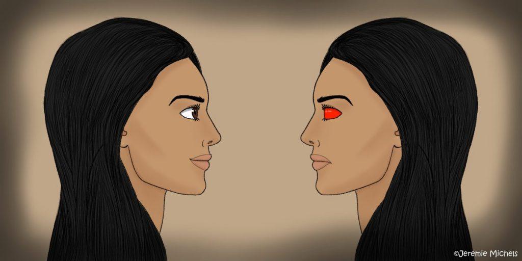 La Sayona Zeichnung von Jeremie Michels. Auf der Zeichnung sind zwei fast identische Frauen zu sehen, die einander ansehen, als würden sie in einen Spiegel gucken. Sie sind beide Latinas mit langen, glatten schwarzen Haaren. Die auf der linken Seite lächelt, hat ein hübsches Gesicht und dunkelbraune Augen. Die auch der rechten seite hingegen lächelt nicht und hat rote, bedrohlich wirkende Augen.