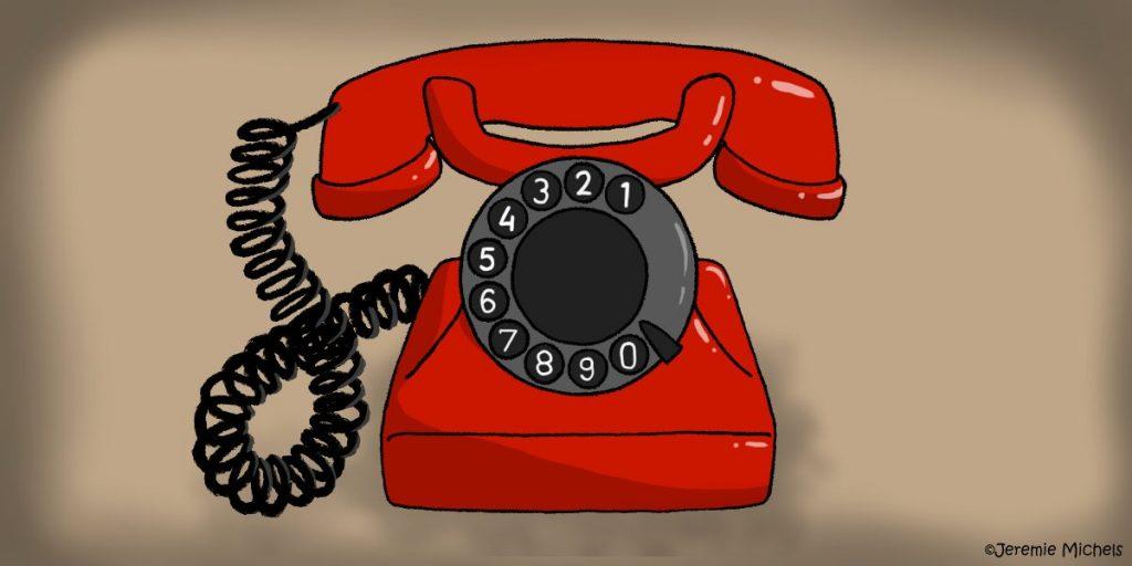 Die Babysitterin Zeichnung von Jeremie Michels. Auf dem Bild sieht man ein Wählscheibentelefon. Es ist komplett in Rot abgesehen von der schwarzen Wählscheibe und dem schwarzen Kabel, dass das Telefon mit dem Hörer verbindet. Der Hörer liegt auf der Telefongabel.